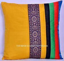 "16"" Patchwork Silk Brocade Pillow Throw Decor Indian Decorative Cushion Cover"