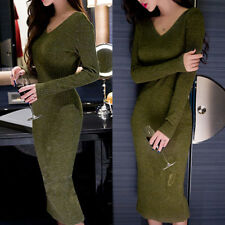 FP- KF_ Fashion Women Solid Bodycon V Neck Rib Knitted Sweater Long Dress Clothe