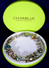 "8"" CHAMILIA Sterling 925 Silver BRACELET Full 21 CHARMS Complete CRYSTAL Beads"