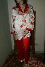 SATIN Glanz Pyjama * Negligee-Anzug weiß rot ROSEN glatt M