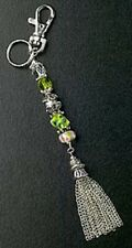 Green Glass Bead Purse Charm Key Ring Crystal Beads Silver Plated Free Shipping