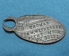 Antique Key Ring Airplane Personal Identification Thomas Flint MI Bronze Metal
