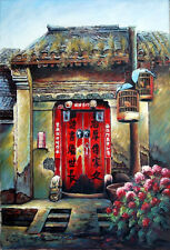 """oil painting canvas landscape Hutong door 24x36"""" contemporary Chinese big art"""