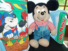 Mickey Mouse, Disney, Bedding, Hot Air Balloon, Plush toy, stuffed animal, 1970s