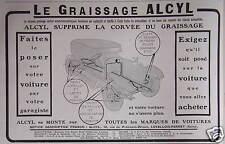 PUBLICITÉ GRAISSAGE CENTRAL ALCYL SUPPRIME LA CORVÉE DU GRAISSAGE SUR VOITURE