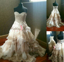 Celtic Ball Gown Wedding Dress Victorian Corset Back Cream&Champagne Bridal Gown