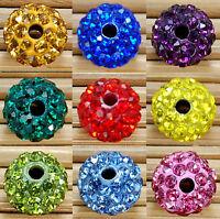 10-50x Czech Crystal Rhinestones Pave Clay Round Disco Ball Spacer Bead 10mm DIY