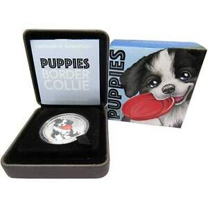 2018 Tuvalu 50c Puppies Border Collie 1/2 oz .9999 Silver Proof Coin