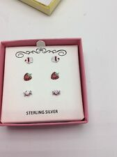 $80 Macy Children Stud Earrings Cup Cake Candy Strawberry Sterling Silver C 12
