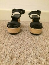 J Crew factory classic black leather woven wedge sandal size 8