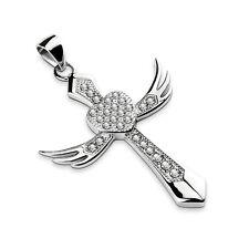 Heart Angel Wing Cross Pendant Cubic Zirconia Stainless Steel