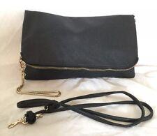 Large H&M Black Faux Leather Clutch/Cross Body/Shoulder Bag / Handbag