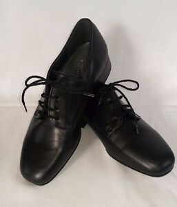 Boys' Mens' ballroom social dance shoes black leather and patent lace up Kelly