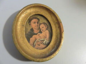 QUADRETTO religioso ovale con cornice legno color oro e vetro VINTAGE