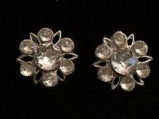 Vintage lot 2 metal metal buttons set rhinestone jewels flowers nice!