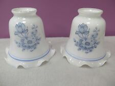 Two Vintage Milk Glass Ruffled Light Replacement Shades With Blue Flowers