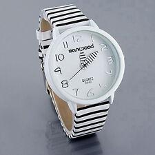 Women Fashion Striped Strap Round Case Casual Quartz Analog Wrist Watch Novelty