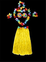 6pcs/Set Ladies Hawaiian Grass Skirt Hula Luau Party Dance Costume Fancy Dress