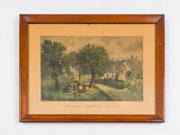 """Early Currier & Ives Reproduction American Homestead Autumn 7 7/8"""" x 12 3/8"""""""