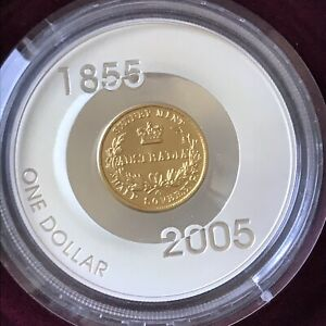 2005 $1 1855 Sydney Half Sovereign Gold Plated 60.5g Silver Proof Coin