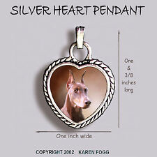 Doberman Pinscher Red Crop Ear Dobie - Ornate Heart Pendant Tibetan Silver
