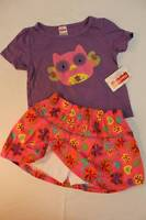 NEW Baby Girls 2pc Set 18 mo Purple Owl Top Shirt Pink Floral Skort Skirt Outfit