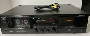 Denon DRW-750A Double Cassette Stereo Tape Deck Tested Works Great
