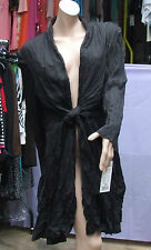 Joseph Ribkoff 10 BNWT Gorgeous Crinkle Black Lightweight Long Jacket Wrap Coat