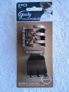 2 Goody Brunette Color Collection Slide Proof Secure Fit Hair Claw Clip Plastic