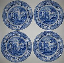 "SPODE BLUE ITALIAN COLLECTION SET OF 4 DINNER PLATES 10.5"" NIB"