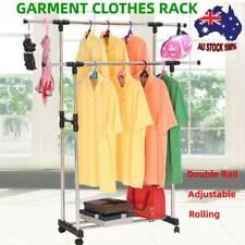 Double Rail Clothes Coat Garment Rack Stand Rolling Hanger Airer Adjustable 30kg