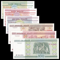 Belarus 6 PCS, Banknotes Set (1+5+10+20+50+100 Rublei), UNC, Europe Paper Money