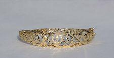 Ladies Fancy Diamond-Cut Filigree Hinged Bangle Bracelet - 14K Yellow Gold