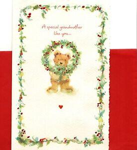 Merry Christmas Grandma Brown Bear & Holly Berry American Greetings Card