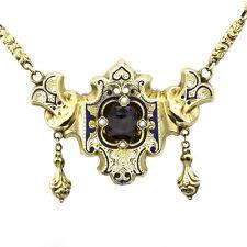 Victorian Garnet, Seed Pearl & Enamel Necklace in 14K Yellow Gold | FJ BAX