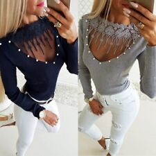 Knitted Fitted Lace Pearls New Sweater Sexy Classy V-neck S M Stretch Top