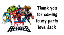 Personalised 48 Marvel Superheros Stickers Labels Party Bag Sweet Cones ThankYou
