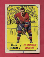 1967-68 TOPPS  # 5 CANADIENS GILLES TREMBLAY  CARD