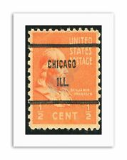 FRANKLIN POSTAGE STAMP USA CHICAGO PHOTO Poster Vintage Canvas art Prints