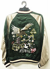 VINTAGE SUKAJAN EAGLE MAP PAGODA EMBROIDERY JAPAN SOUVENIR REVERSIBLE JACKET