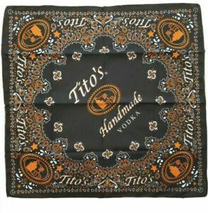 NEW  Tito's Vodka Bandana Scarf Handkerchief 21x21 Black Orange Paisley