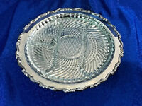 "Round 12"" Oneida Silverplate Georgian Scroll Platter /w Glass Relish Tray Insert"