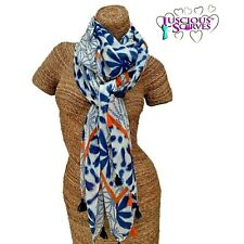 ORANGE , WHITE & BLUE TASSEL SCARF  WITH A FLORAL PEARL DESIGN SUPERB QUALITY