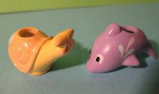 Polly Pocket Mini ♥ 2 x penna dolci TESTINE ♥ Pen Pal ♥ Dolphin, Snail ♥