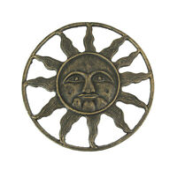 Antique Bronze Finished Cast Iron Celestial Sun Face Wall Hanging 12 Inches In