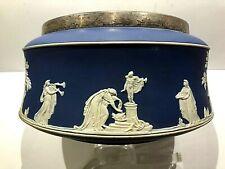 """C.1860 ~ RARE ~ WEDGOOD~ADAMS COBALT BLUE JASPERWARE Greco-Roman 9.5"""" BOWL MNT -"""