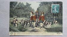 CPA 77. Chasse à courre en forêt de Fontainebleau. En route pour l'attaque.