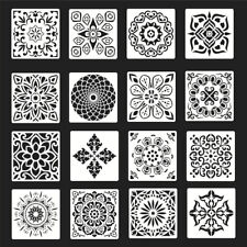 16pcs Mandala Reusable Stencil Cut Wall Tile Paint  Painting Template Making