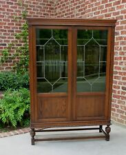 Antique English Oak Green Leaded Glass Bookcase Display Cabinet Vitrine Art Deco