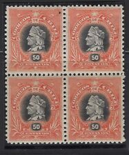 "CHILE 1901-04 Sc.56 Columbus ""Napoleon"" 50c red orange block of 4 MNH- MH"